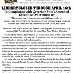 Library Closed through April 16.