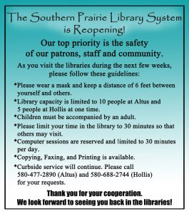 The Southern Prairie Libraries are reopening. These are the guidelines