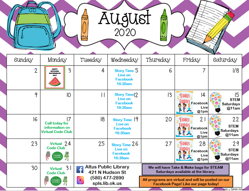 Calendar of events for August 2020