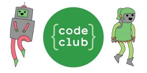 code club written in brackets with a robot and a girl